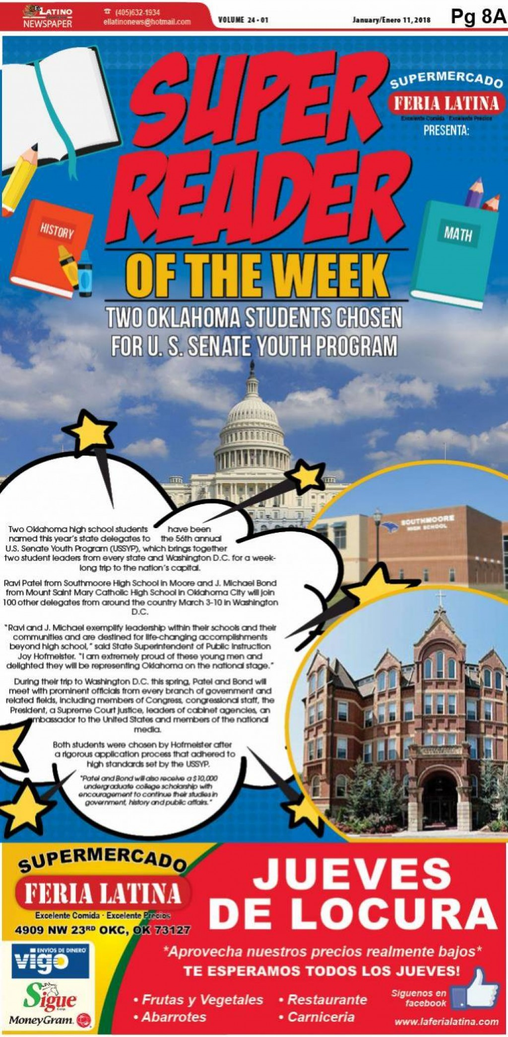Super Reader of the Week: Two Oklahoma Students Chosen for U. S. Senate Youth Program