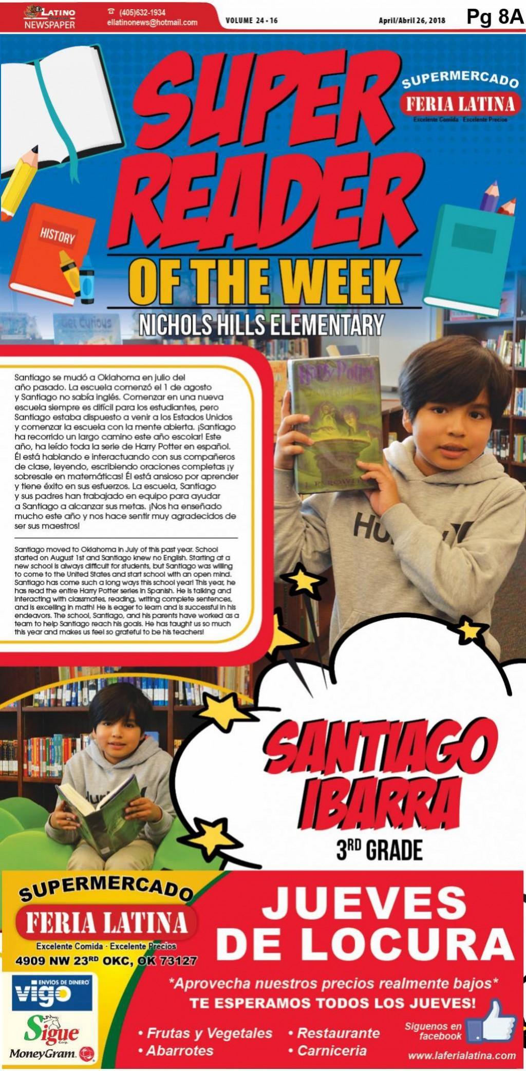 Super Reader of the Week:  Santiago Ibarra