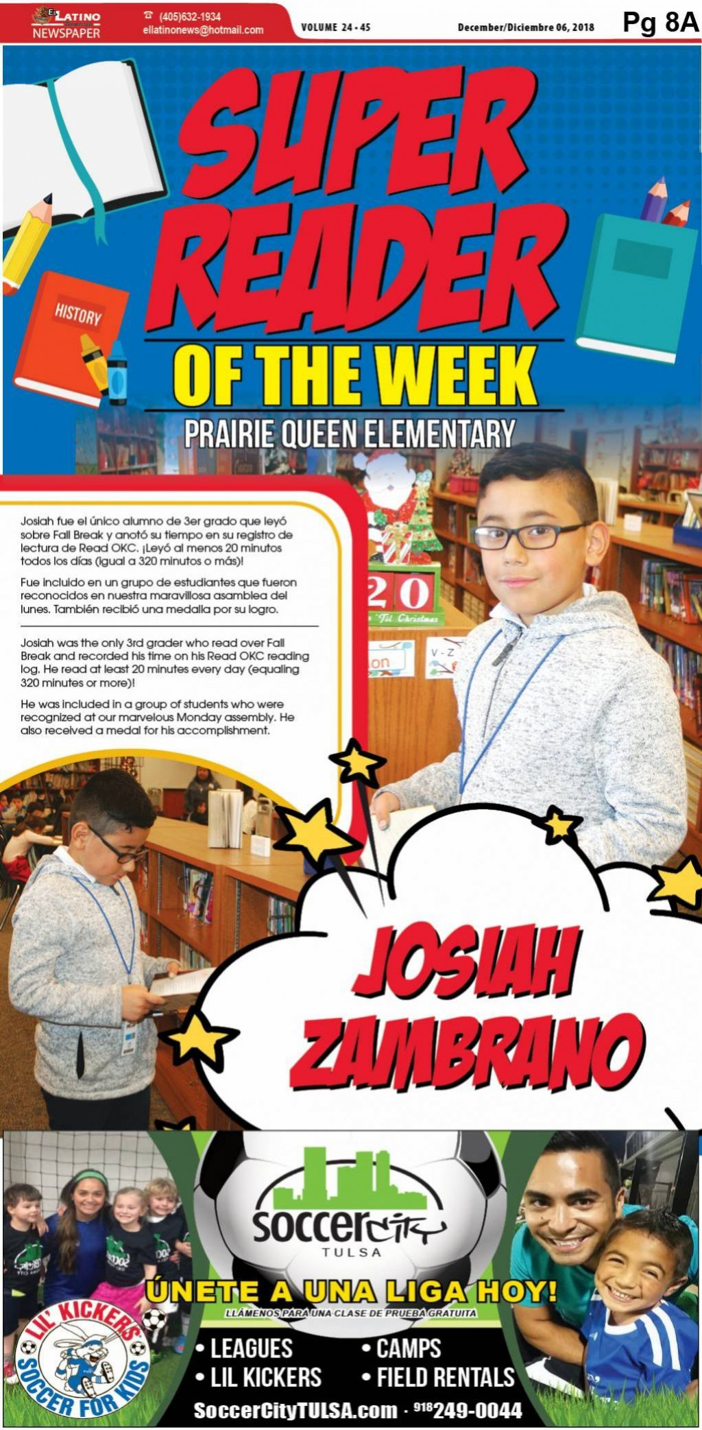 Super Reader of the Week: Josiah Zambrano