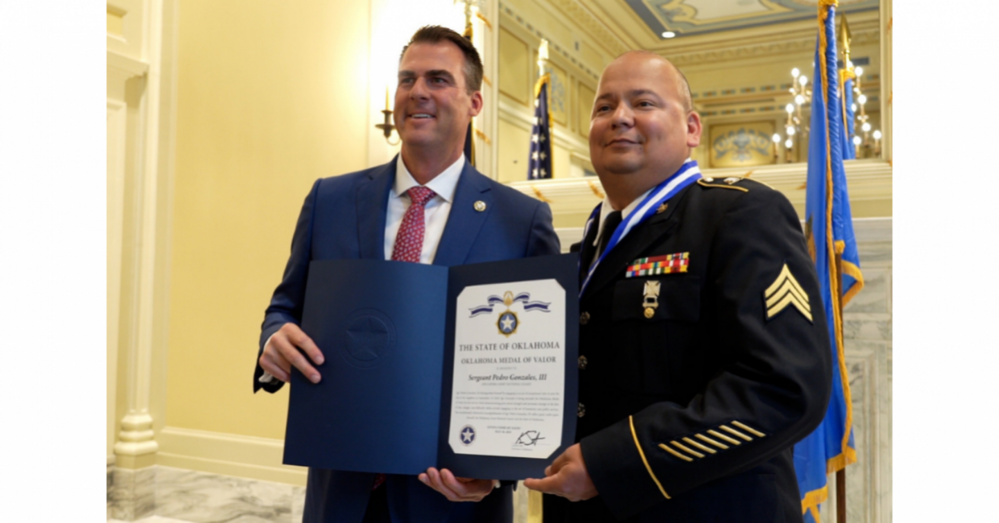 Governor Stitt Presents State Awards for Heroism. The Oklahoma Medal of Valor and Oklahoma Purple Heart Awards